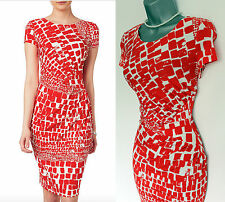 Phase Eight Red White Alyssa Print Side Pleats Round Neck Cap  Pencil Dress 10
