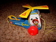 Vtg Wooden 1970 Fisher Price Mini Copter 448 USA (Good working Condition)