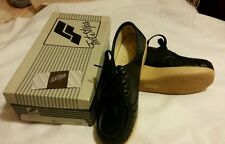 NOS FOOT STEPS Comfortable Womens Size 7 M Walking Shoes Navy Leather Lace Up