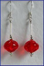Impresionante pendientes de plata 925 Rojo Brillante Hecho a Mano De Cristal De Bohemia