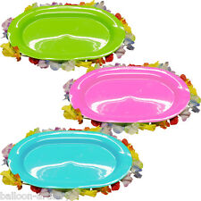 """15.5"""" Tropical Luau Pink Green Blue Plastic Snack Serving Tray Platter x3"""
