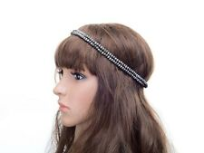 VINTAGE DECO 20s FLAPPER  GREY SILVER  DOUBLE PEARL BEADED CHAIN HEADBAND