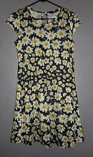 Atmosphere Black STRETCH Dress with Floral Daisy Print USA 8 POLY/ELASTANE MESH