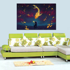 Abstract HD Canvas Print home decor wall art paintings- Cat & Goldfish Unframed