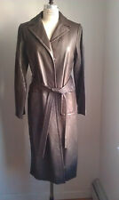 SIZE 12 (Large) BCBG MAXAZRIA Brown Long LEATHER JACKET COAT BLAZER