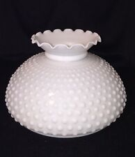 "Vintage 10"" Hobnail Milk Glass Hurricane Student Lamp Shade Replacement"