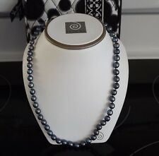 """HONORA NEW 14KT GOLD CLASP 20"""" OVAL PEACOCK BLACK 7MM PEARL NECKLACE"""