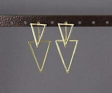 gold dangle ear jacket front back earrings triangle geometric double look stud