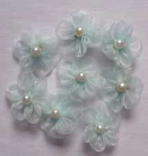 sew on organza blue  flowers appliques set of 6