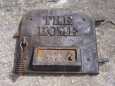 Antique The Home Wood Stove Door Panel Cast Iron Parlor Pot Belly Sign