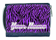 PURPLE ZEBRA PRINT PERSONALISED LADIES / GIRLS DENIM PURSE / MINI WALLET -NAMED