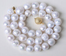 """17"""" 11mm baroque white Reborn keshi pearls necklace gold plated clasp j9491"""