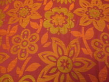 Retro Fabric Vintage Brocade Weave Daisy Red Orange CURTAIN BLIND CUSHION CRAFT