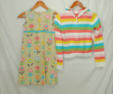 Gymboree VTG Happy Rainbow Size 12 Girls Dress Sweater Set Outfit Floral Striped