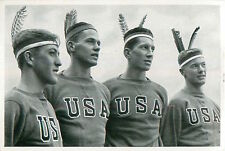 Team of USA Americans in Indian Headdress OLYMPIC GAMES 1936 CARD
