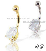 LARGE CLEAR CZ STONE SILVER GOLD BELLY RING PIERCING NAVEL BAR 14G BARBELL B36
