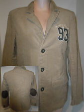 L.O.G.G Womens Solid Tan Coudoury Jacket Coat Blazer Elbow Patches Size M Medium