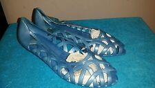 NOS Vintage 80s Light Blue  Plastic Jelly Womens Shoes Flats 7