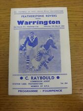 19/03/1966 Rugby League Programme: Featherstone Rovers v Warrington [Challenge C