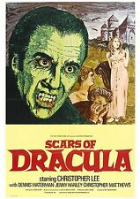 Scars of Dracula - Hammer Horror - Christopher Lee - A4 Laminated Mini Poster