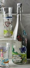ANTHROPOLOGIE Molly Hatch Winged Migration Carafe Butterfly Glass Bottle Pitcher