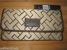 NEW TOMMY HILFIGER WALLET CHECKBOOK ID $39 Retail Tan Brown