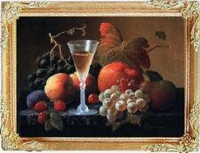 FRUIT & WINE STILL LIFE Dollhouse Picture Miniature Art - MADE IN AMERICA
