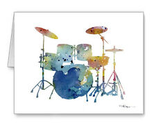 DRUM SET note cards by watercolor artist DJ Rogers