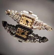 Vintage 14K White Gold & Diamond 17 Jewel Croton Watch