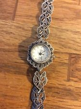 "Vintage Estate Jewelry 925 ""Diamond"" Quartz Watch Marcasite Ladies 7.25in"