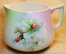 Antique Dresden China Handpainted Lemonade Pitcher Circa 1890s 1900s