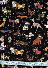 Fat Quarter Crazy Canines 100% Cotton Quilting Fabric Whimsical Colourful Dogs