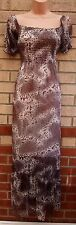 CHIFFON VTG GYPSY BROWN GREY ABSTRACT PRINT GYPSY LONG FLIPPY MAXI DRESS L 14