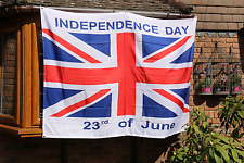 INDEPENDENCE DAY 23rd June Brexit FlAG/BANNER + FREE :Lapel Pin Badge