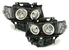 Black clear headlights with angel eyes for VW Bus T4 Caravelle Multivan from 96