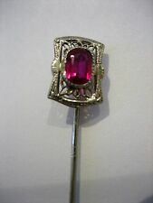 Antique 10K White Gold Ruby Victorian Filigree Hat Pin