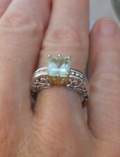 STUNNING! ESTATE SOLID 14K NATURAL 2.4ct. EMERALD AND CHANNEL SET DIAMOND RING