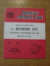 11/11/1967 Barnsley v Bradford City  (Creased, Pin Holes)