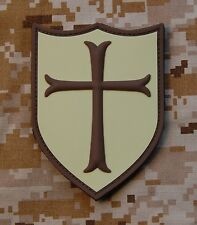 3D PVC Cross Crusader Shield Rubber Tactical SEAL Desert Morale Patch Hook