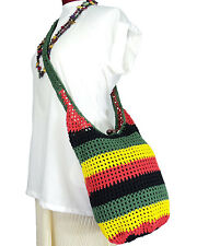 RASTA REGGAE COLOR CROCHET HIPPIE BOHO SLING CROSSBODY TOTE SHOULDER BAG