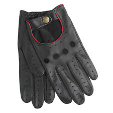 Dents Delta Men's Hairsheep Black/Berry Leather Classic Driving Gloves Sz L