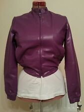 PURPLE Faux Leather PU Vegan BIKER JACKET uk14 us10 eu40 Chest c38in c97cm