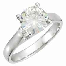 2 Ct Forever Classic Moissanite Round Cut Engagement  Ring 14k White