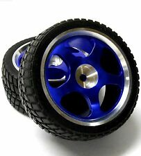 811717B 1/10 Scale RC Car On Road Touring Wheel and Tyre Alloy Blue 6 Spoke x 2