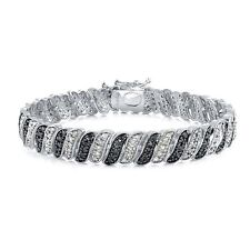 1.00ct TDW Treated Black & White Diamond Wave Link Tennis Bracelet in Brass