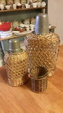 Vintage Wicker / Cane Covered Glass Bottles & Glass – Picnic Set – Great! –