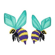 ID 0427AB Set of 2 Bumble Bees Insect Bug Embroidered Iron On Applique Patch