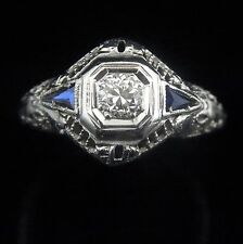 c1920s Art Deco Old European Cut Diamond Sapphire 18k White Gold Ring Engagement