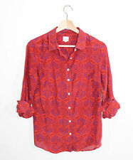 J.Crew Perfect Shirt Red Purple Paisley Fitted Silk Blend Button Down S
