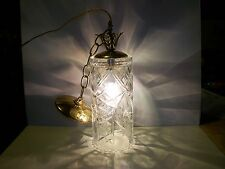 VINTAGE ETCHED CRYSTAL GLASS SWAG LIGHT HANGING LAMP WITH CHAIN & CEILING CAP